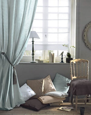 rideau bleu gris de la redoute des fen tres habill es. Black Bedroom Furniture Sets. Home Design Ideas