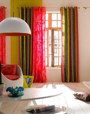Rideaux roses et rayures multicolores de castorama des fen tres habill es - Castorama rideaux salon ...
