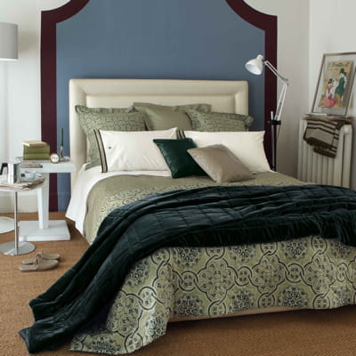 couvre lit bleu canard d 39 edmond frette. Black Bedroom Furniture Sets. Home Design Ideas
