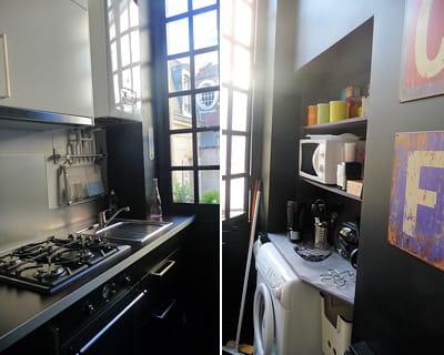 une petite cuisine optimis e deux petites pi ces r am nag es journal des femmes. Black Bedroom Furniture Sets. Home Design Ideas