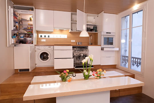une cuisine encastr e pour plus de discr tion un 50 m plein d 39 astuces journal des femmes. Black Bedroom Furniture Sets. Home Design Ideas