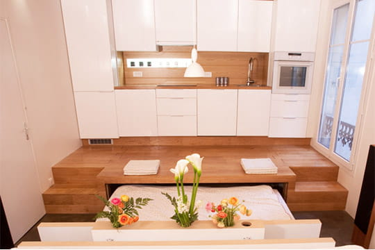 un espace modulable un 50 m plein d 39 astuces journal des femmes. Black Bedroom Furniture Sets. Home Design Ideas