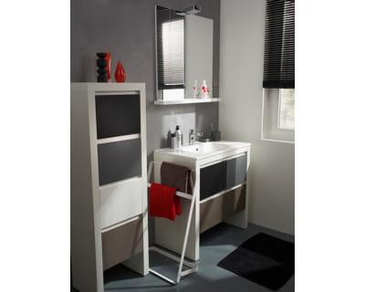 Meubles de salle de bains gris taupe et blanc de leroy for Meuble salle de bain gris et blanc