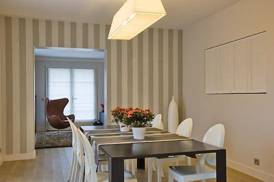 Jeux de constrastes dans la salle manger une maison de - Papier peint pour salon et salle a manger ...