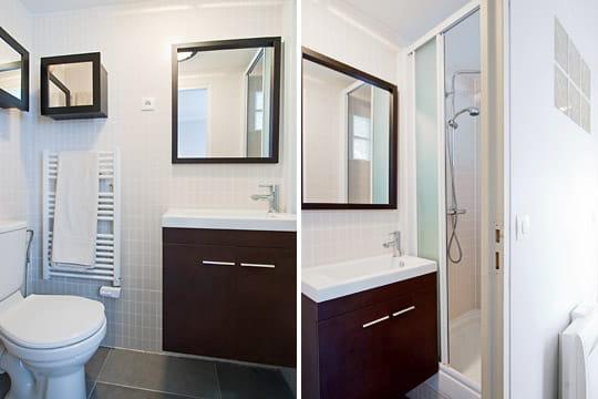 une salle d 39 eau agrandie un 55 m spacieux et moderne dans un immeuble xviiie journal des femmes. Black Bedroom Furniture Sets. Home Design Ideas