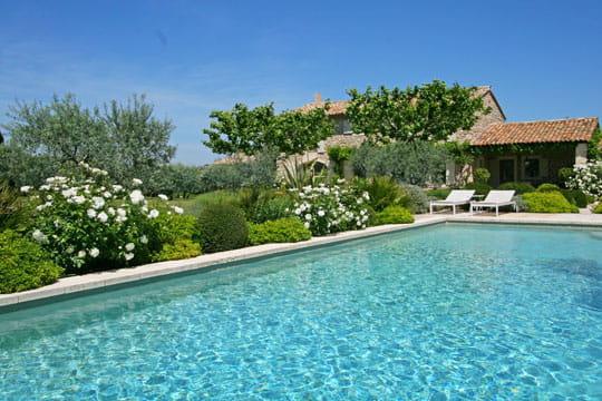 Eau turquoise et roses blanches des maisons de r ve avec for Reve bleu piscine