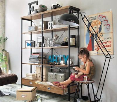 biblioth que indus en pin des 3 suisses je veux un style atelier dans mon int rieur. Black Bedroom Furniture Sets. Home Design Ideas