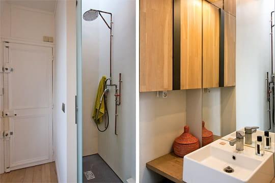 une petite salle d 39 eau un appartement tout en longueur bien optimis journal des femmes. Black Bedroom Furniture Sets. Home Design Ideas