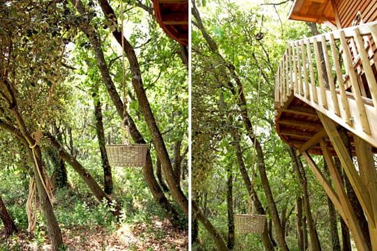 syst me de poulie cabane perch e pour une nuit dans les arbres journal des femmes. Black Bedroom Furniture Sets. Home Design Ideas