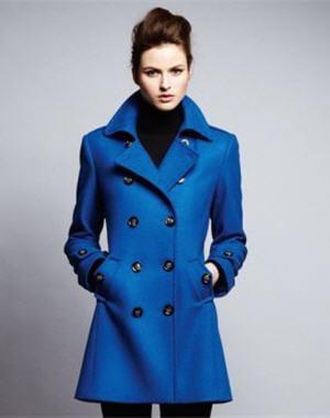 Manteau femme bleu laine