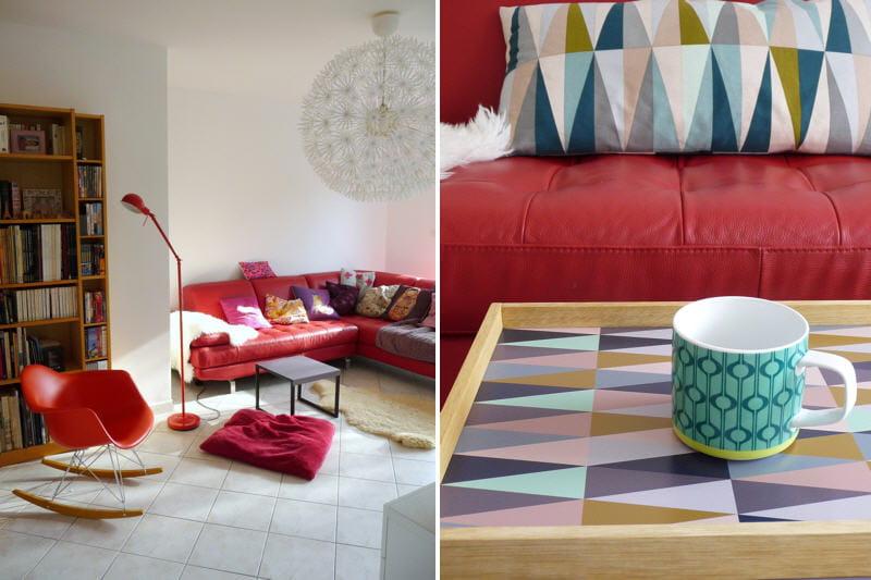 Le canapé rouge, star du salon : Une maison décorée avec ...